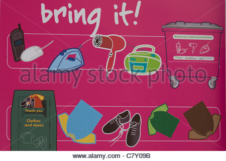A Notice board advising people to recycle things - Stock Photo