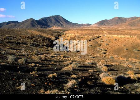 Volcanic landscape of the Jandia Nature Park, Fuerteventura, Canary Islands, Spain - Stock Photo