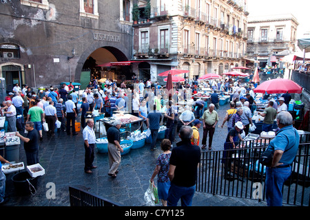 Traditional fish shop selling seafood at old market in Catania, Sicily, Sicilia, Italy - Stock Photo