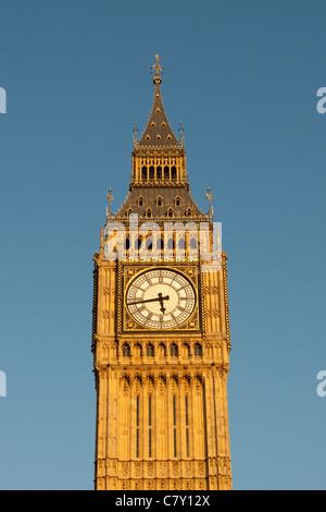 Big Ben/St Stephens clock tower at dusk, one of  Londons prominent landmarks, Westminster, London, England, UK - Stock Photo