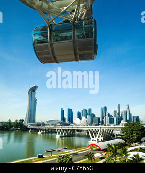 Singapore Skyline and The Flyer - Stock Photo
