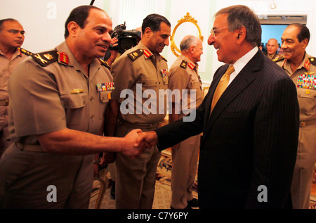 U.S. Secretary of Defense Leon Panetta (R) is greeted by Egyptian military at his meeting with Field Marshal Tantawi - Stock Photo