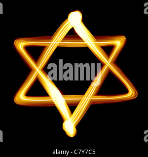 Star of David created by light close-up - Stock Photo