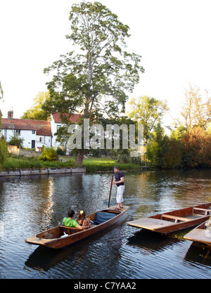 Punting On The Cam River Cambridge UK - Stock Photo