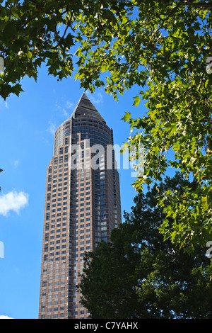 The trade fair tower in Frankfurt am Main known as the Messeturm. - Stock Photo
