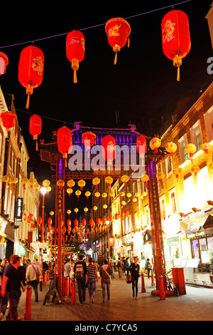 Red lanterns in Chinatown, London, England - Stock Photo