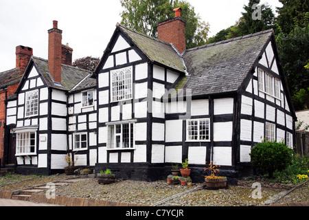 Traditional Black and White House Montgomery Powys Powis Mid Wales UK United Kingdom GB EU European Union Europe - Stock Photo