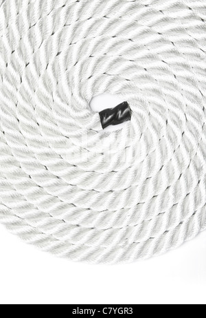 Close up of strong rope isolated on white - Stock Photo