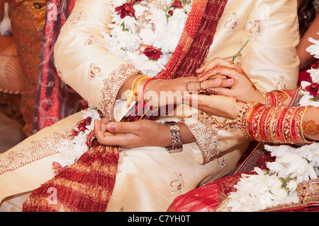 application of wedding ring by Hindu groom to his brides finger