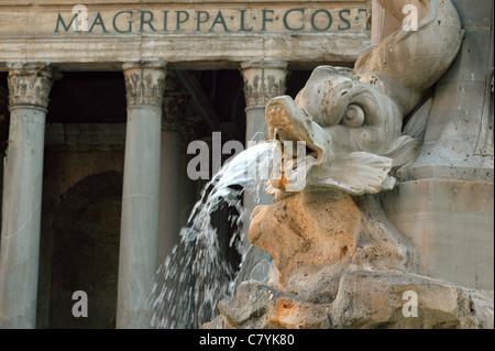 Pantheon fountain Fontana di Pantheon Piazza della Rotonda Rome - Stock Photo