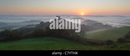 Colmer's Hill and Marshwood Vale at Sunrise. Dorset. England. UK. - Stock Photo