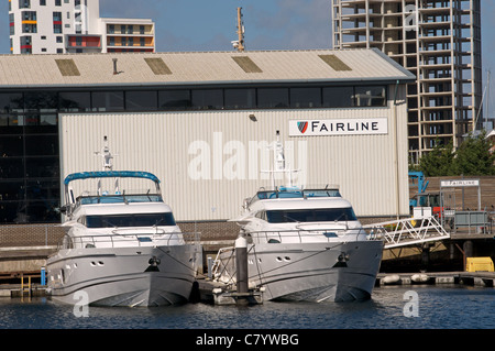Fairline motorboat testing felicity, Ipswich Haven Marina, Suffolk, UK. - Stock Photo