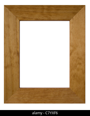 A wooden picture frame isolated on white with clipping path and copy space. - Stock Photo