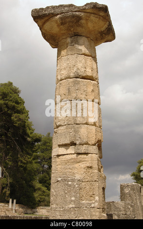 Temple of Hera (Heraion). Doric style. Peripteral and hexastyle. 6th century B.C. Doric column. Altis. Olympia. - Stock Photo