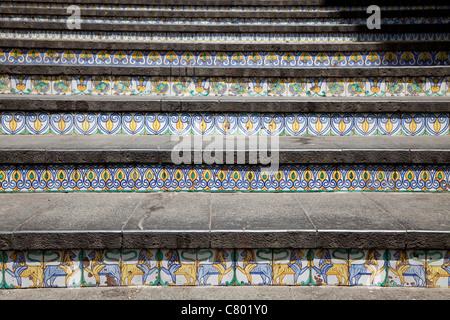 The decorated 142-step monumental Staircase of Santa Maria del Monte, Caltagirone, Sicily, Sicilia, Italy - Stock Photo