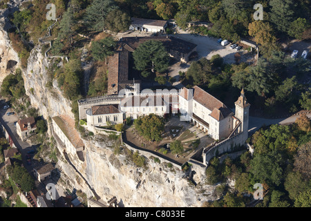 ROCAMADOUR CASTLE (aerial view). Lot, Quercy, Midi-Pyrénées, France. - Stock Photo
