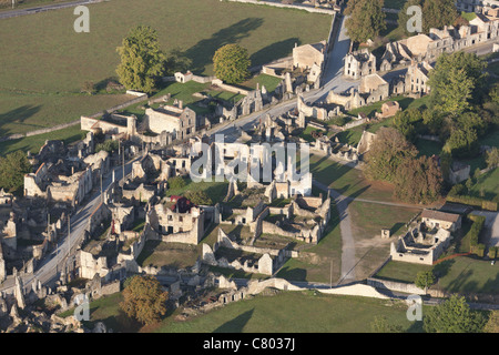 ORADOUR-SUR-GLANE (aerial view). Site of a WWII massacre; German soldiers killed all 642 inhabitants, including - Stock Photo