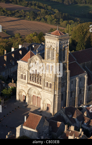 BASILICA OF ST MAGDALENE (aerial view). A UNESCO world heritage site. Vezelay, Yonne, Burgundy, France. - Stock Photo