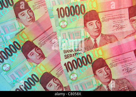 Indonesian one hundred thousand rupiah bank notes. Indonesia - Stock Photo
