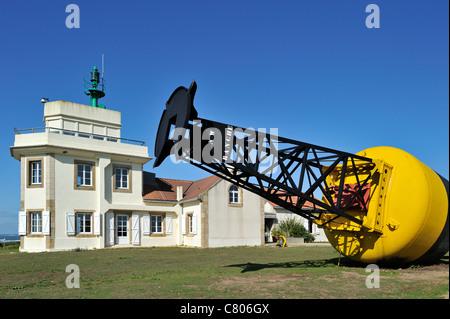 Semaphore / Lighthouse and buoy at the Pointe Saint-Gildas / Saint Gildas Point, Loire-Atlantique, France - Stock Photo