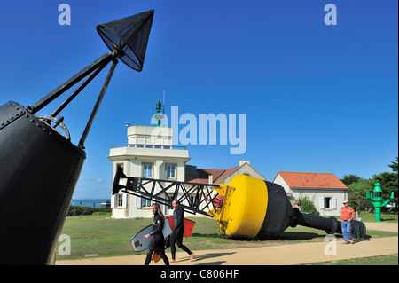 Semaphore / Lighthouse and buoys at the Pointe Saint-Gildas / Saint Gildas Point, Loire-Atlantique, France - Stock Photo