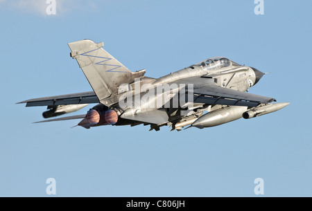 An Italian Air Force Panavia Tornado ECR taking off from Decimomannu Air Base, Sardinia, Italy, during Exercise - Stock Photo