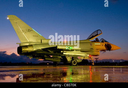 An Italian Air Force Eurofighter Typhoon at night during Exercise STAREX 2010 that took place at Decimomannu Air - Stock Photo