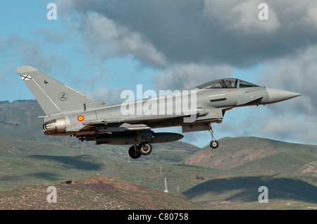 A Eurofighter Typhoon of the Spanish Air Force. - Stock Photo