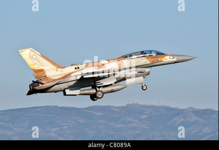 An Israeli Air Force F-16I Sufa takes off from Decimomannu Air Base, Sardinia, Italy, during Exercise Starex 2009. - Stock Photo