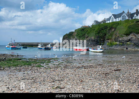 The harbour at Port Isaac (Port Wenn in TV's Doc Martin), north Cornwall, England, United Kingdom - Stock Photo