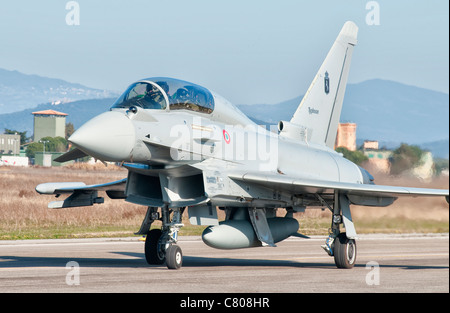 An Italian Air Force Eurofighter Typhoon at Grosseto Air Base, Italy. - Stock Photo