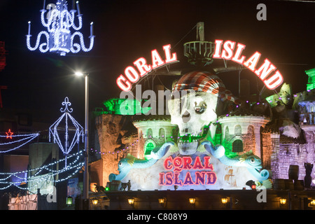 Blackpool promenade illuminated during the annual Blackpool Illuminations, Lancashire, UK. - Stock Photo