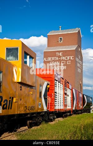 Railway siding by the grain elevator in Castor, Alberta, Canada - Stock Photo