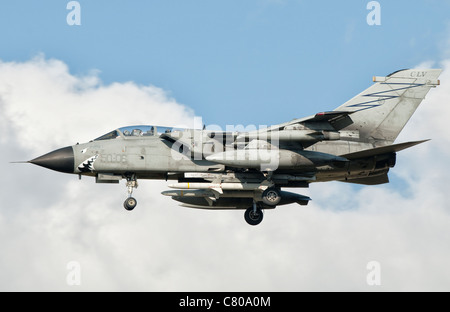 An Italian Air Force Panavia Tornado ECR returns from a mission over Libya. - Stock Photo