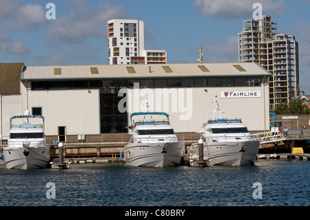 Fairline motorboat test facility, Ipswich, Suffolk, UK. - Stock Photo