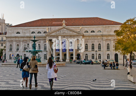 The National Theatre D. Maria II - Lisbon, Portugal - Stock Photo