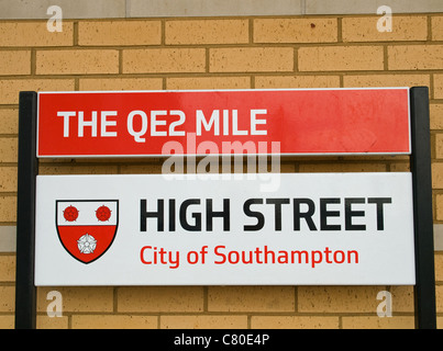 Street sign for the QE2 Mile High Street Southampton Hampshire England UK - Stock Photo