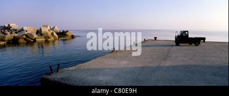 Italy, Sicily, Aeolian Islands, Salina island, Malfa Village , Cala Galera port - Stock Photo
