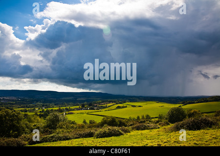 An approaching rain storm seen from Brading Downs on the Isle of Wight in England