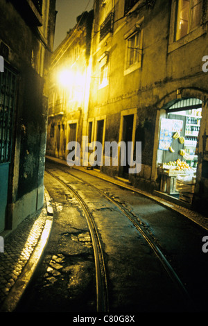 Portugal, Lisbon, Alfama Quarter at Night. - Stock Photo