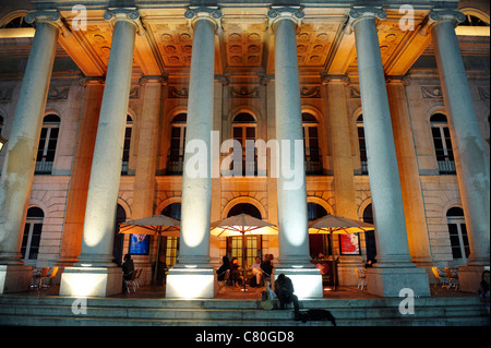 Portugal, Lisbon, Rossio Square. Dona Maria II National Theater. - Stock Photo