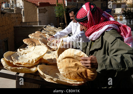 Syria, Maalula, Christian Village, Baker. - Stock Photo