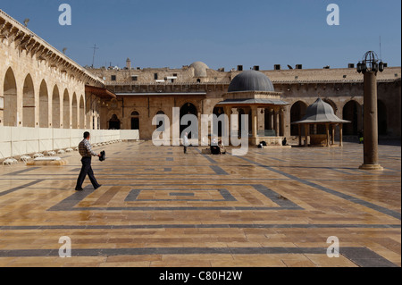 Syria, Aleppo, The Courtyard of the Great Omayad Mosque. - Stock Photo