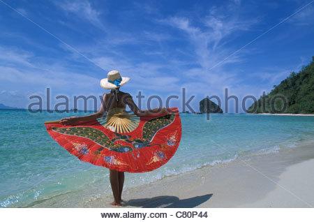 Thailand Phuket Woman on beach Koh Thab Island - Stock Photo