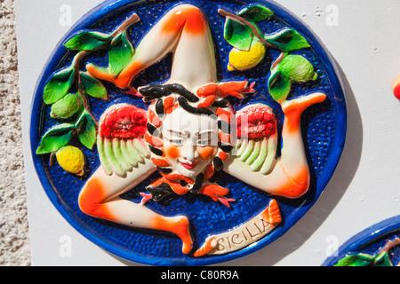 A Trinacria, ancient symbol of Sicily, Monreale, Sicily, Italy - Stock Photo