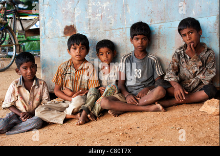 Young poor lower caste Indian street children. Andhra Pradesh, India - Stock Photo