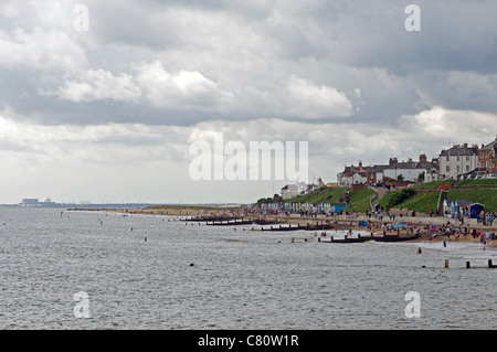 The seaside town of Southwold with Sizewell nuclear power station in the background, Suffolk, UK. - Stock Photo