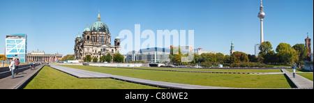 Museum Island from Schlossplatz, with Berliner Dom, Humboldt Box, Alte Nationalgalerie and Altes Museum, Berlin, - Stock Photo