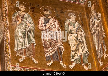 Mosaics inside Monreale Cathedral, Monreale, near Palermo, Sicily, Italy - Stock Photo