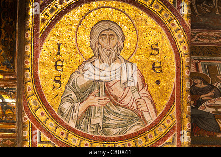Mosaic inside Monreale Cathedral, Monreale, near Palermo, Sicily, Italy - Stock Photo